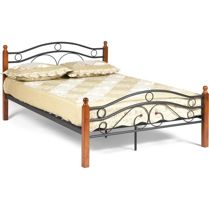 Фото - Кровать TetChair AT-803 wood slat base дерево гевея/металл 140x200 (Double bed) красный дуб/черный кровать tetchair at 803 двуспальная размер дхш 210х164 5 см каркас массив дерева цвет красный дуб черный