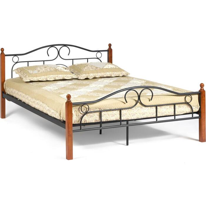Кровать TetChair AT-808 wood slat base дерево гевея/металл 180x200 (King bed) красный дуб/черный