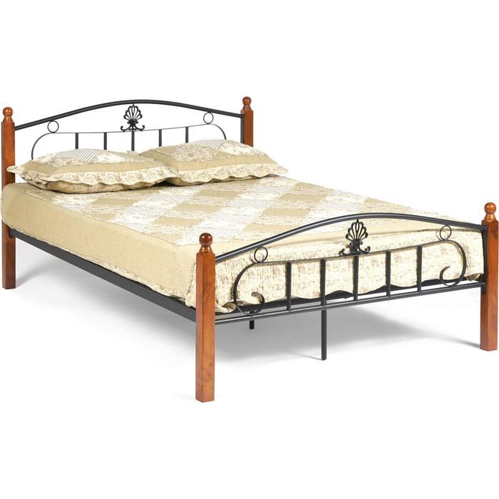 Кровать TetChair Румба (AT-203)/Rumba wood slat base, дерево гевея/металл, 140x200 (Double bed), красный дуб/черный