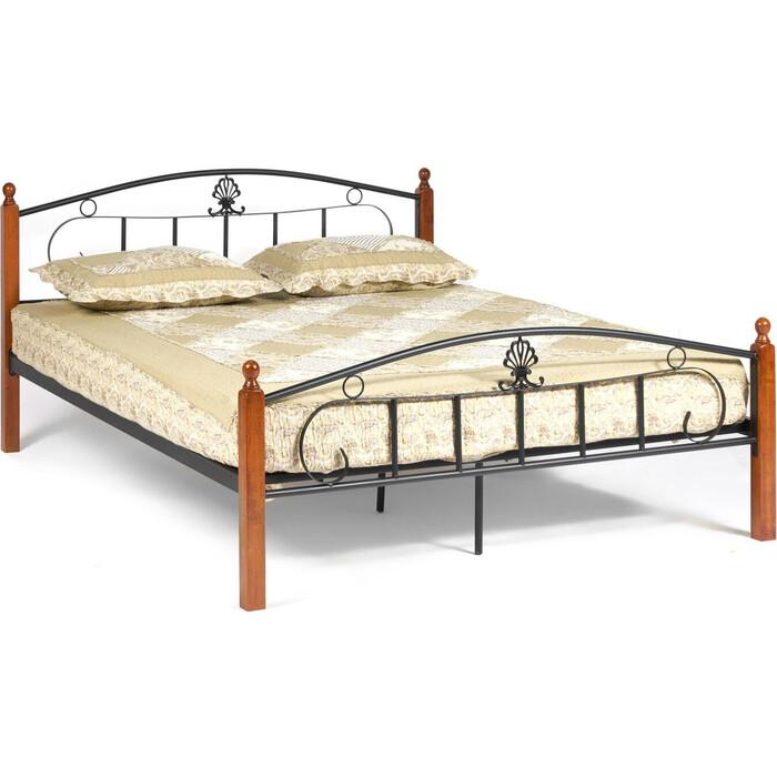 Кровать TetChair Румба (AT-203)/Rumba wood slat base, дерево гевея/металл, 160x200 (Queen bed), красный дуб/черный