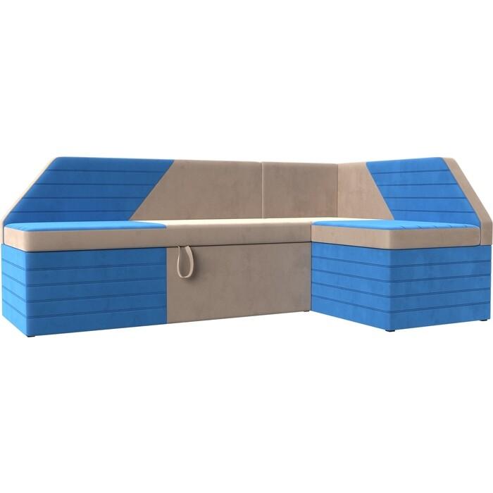 Кухонный угловой диван АртМебель Дуглас велюр бежевый голубой правый угол
