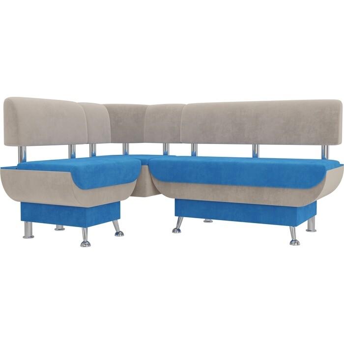 Кухонный угловой диван АртМебель Альфа велюр голубой бежевый левый угол