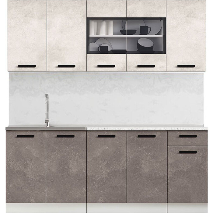 Кухня Миф Рио 2,0м бетон светлый/бетон темный ЛДСП