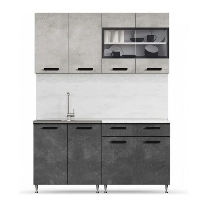 Кухня Миф Рио 1,6м бетон светлый/бетон темный ЛДСП
