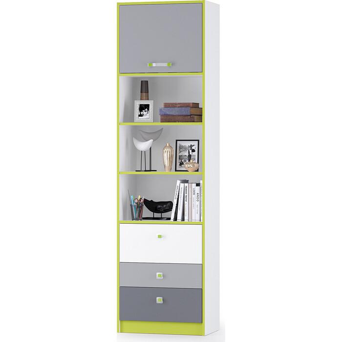 Стеллаж высокий Моби Альфа 09.137 лайм зеленый/белый премиум/стальной серый/темно-серый