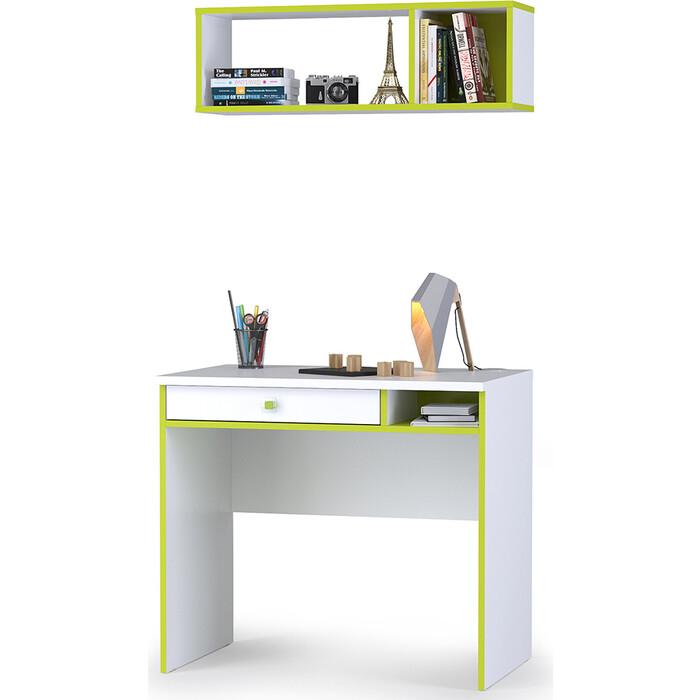 Моби Альфа 12.41 письменный стол + 09.129 полка лайм зеленый/белый премиум универсальная сборка