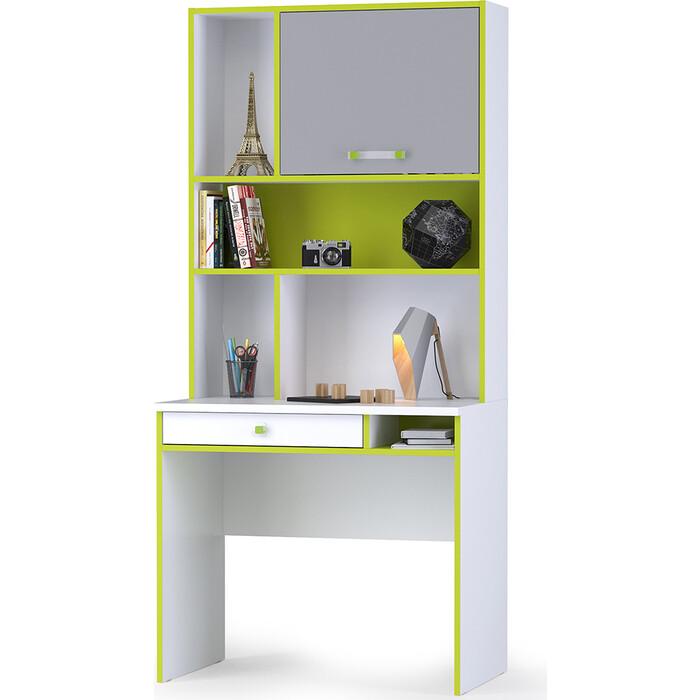 Моби Альфа 12.41 письменный стол + 13.165 надстройка лайм зеленый/белый премиум/стальной серый универсальная сборка