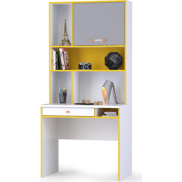 Моби Альфа 12.41 письменный стол + 13.165 надстройка солнечный свет/белый премиум/стальной серый универсальная сборка
