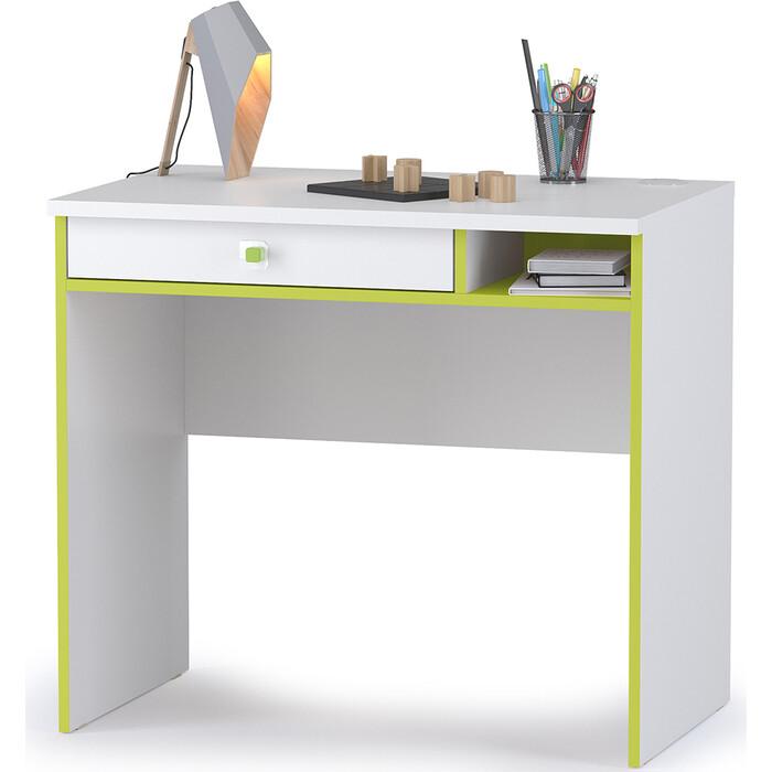Письменный стол Моби Альфа 12.41 лайм зеленый/белый премиум универсальная сборка