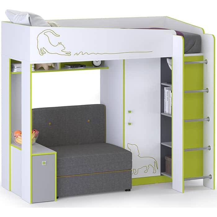 Моби Альфа кровать-чердак с диванным блоком лайм зеленый 80x190 универсальная сборка