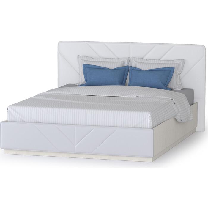 Моби Амели кровать 11.16 + подъемный ортопед шелковый камень/искусственная кожа белая 160x200