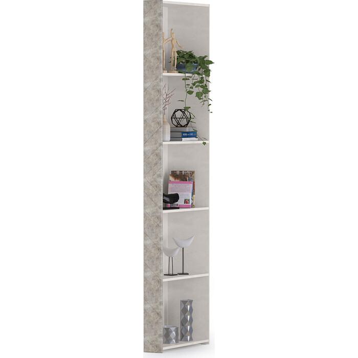Стеллаж Моби Амели 13.140 шелковый камень/бетон чикаго беж универсальная сборка