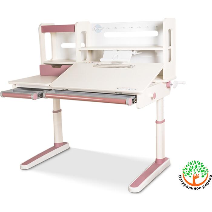 Детский стол Mealux Oxford PN BD-930 с полкой столешница белая (дерево)/накладки на ножках розовые