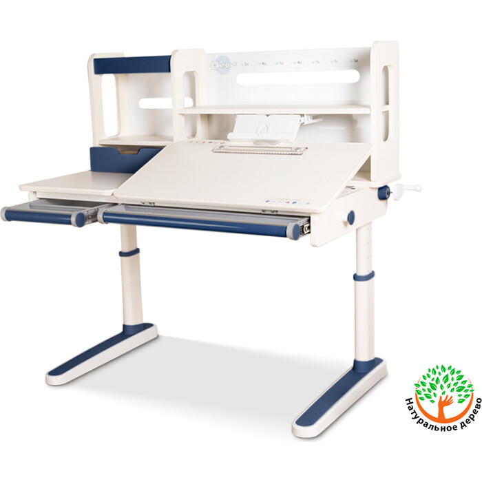 Детский стол Mealux Oxford BL BD-930 с полкой столешница белая (дерево)/накладки на ножках синие