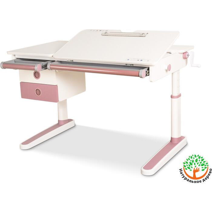 Детский стол Mealux Oxford PN BD-930 с ящиком столешница белая (дерево)/накладки на ножках розовые