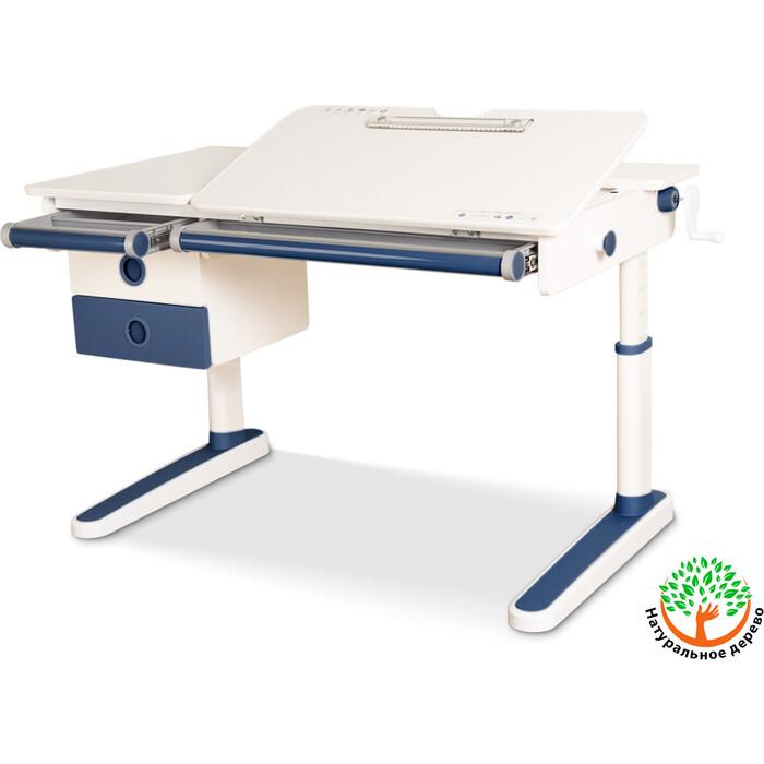 Детский стол Mealux Oxford BL BD-930 с ящиком столешница белая (дерево)/накладки на ножках синие