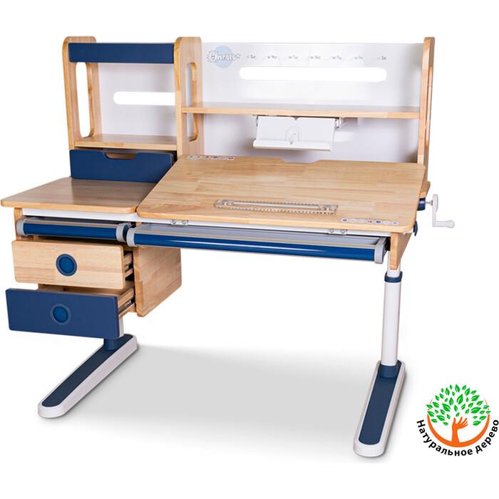 Детский стол Mealux Oxford Wood Max BL BD-920 столешница белая (дерево)/накладки на ножках синие