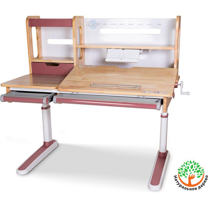Детский стол Mealux Oxford Wood PN BD-920 с полкой столешница дерево/накладки на ножках розовые