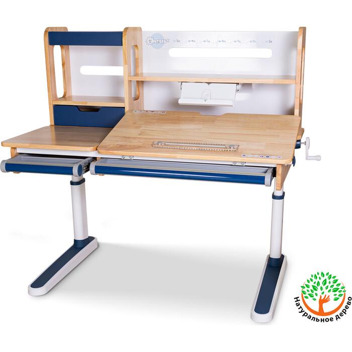 Детский стол Mealux Oxford Wood BL BD-920 с полкой столешница дерево/накладки на ножках синие