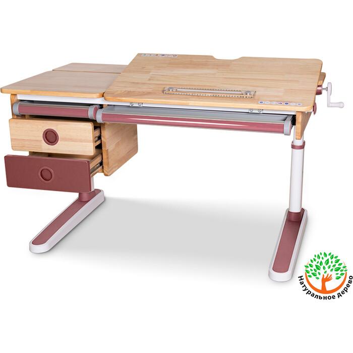 Детский стол Mealux Oxford Wood PN BD-920 с ящиком столешница дерево/накладки на ножках розовые