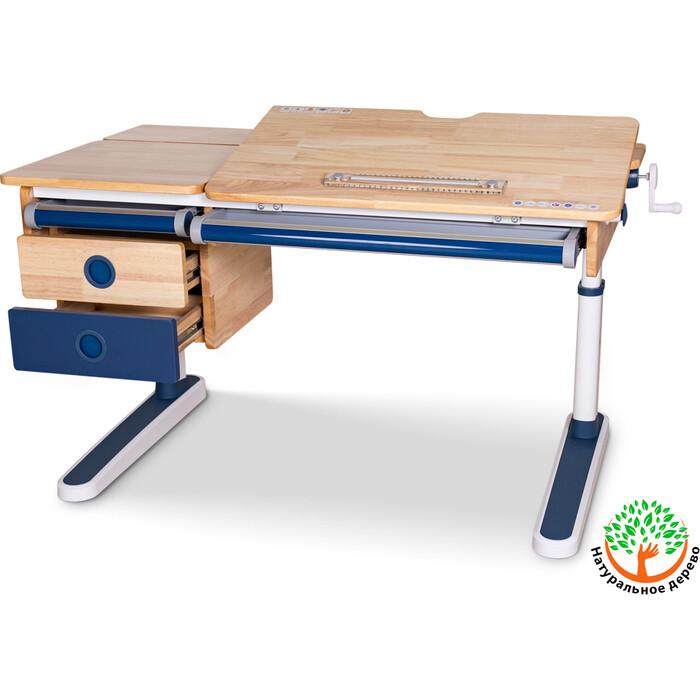 Детский стол Mealux Oxford Wood BL BD-920 с ящиком столешница дерево/накладки на ножках синие