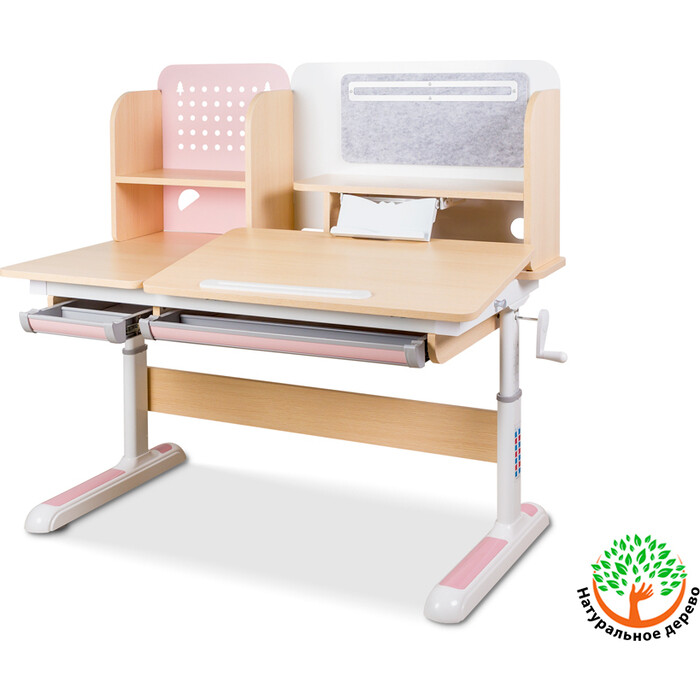 Детский стол Mealux Winnipeg BD-630 MG/PN столешница клен (ламинация)/ножки белый с розовым