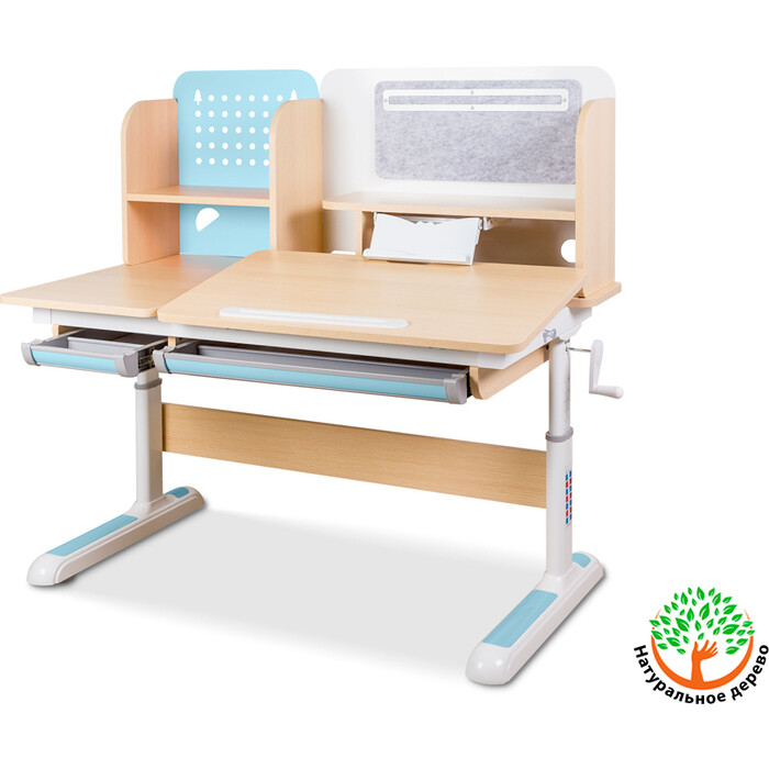 Детский стол Mealux Winnipeg BD-630 MG/BL столешница клен (ламинация)/ножки белые с голубым