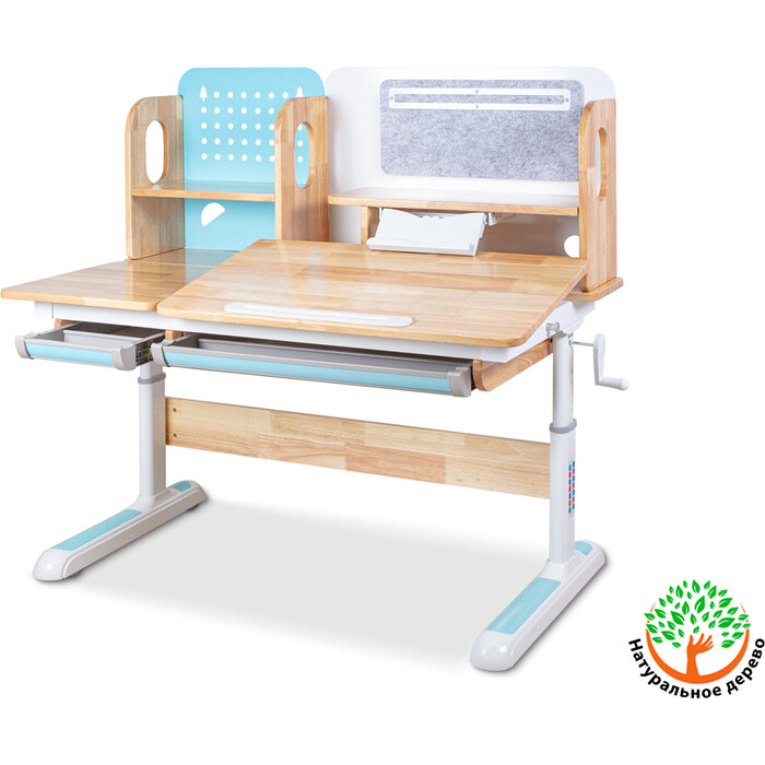 Детский стол Mealux Winnipeg Wood BD-640 wood BL столешница дерево/ножки белые с голубым