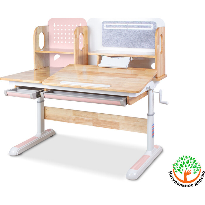 Детский стол Mealux Winnipeg Wood BD-640 wood PN столешница дерево/ножки белые с розовым