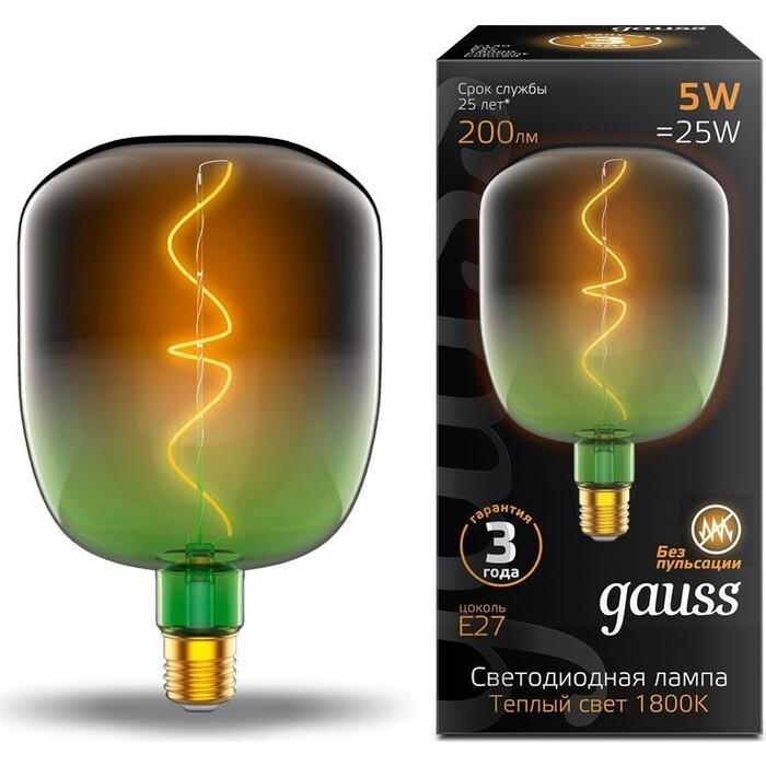 Лампа Gauss светодиодная филаментная E27 5W 1800K зеленая 1009802105 лампочка gauss 1009802105 colored