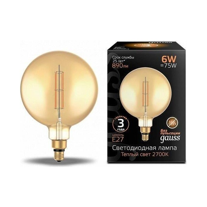 Лампа Gauss светодиодная филаментная E27 6W 2700K янтарная 154802118