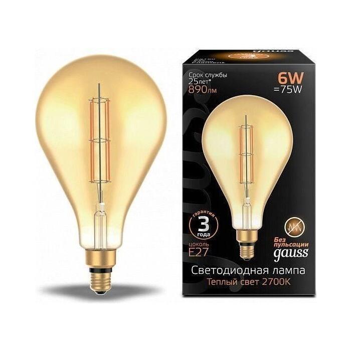 Лампа Gauss светодиодная филаментная E27 6W 2700K янтарная 179802118