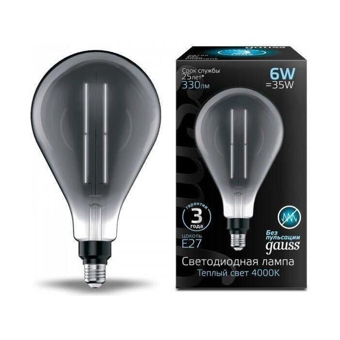 Лампа Gauss светодиодная филаментная E27 6W 4000K серая 179802205