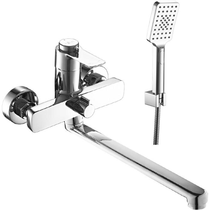 Смеситель для ванны Rossinka поворотный, с ручным душем, хром (RS50-32)