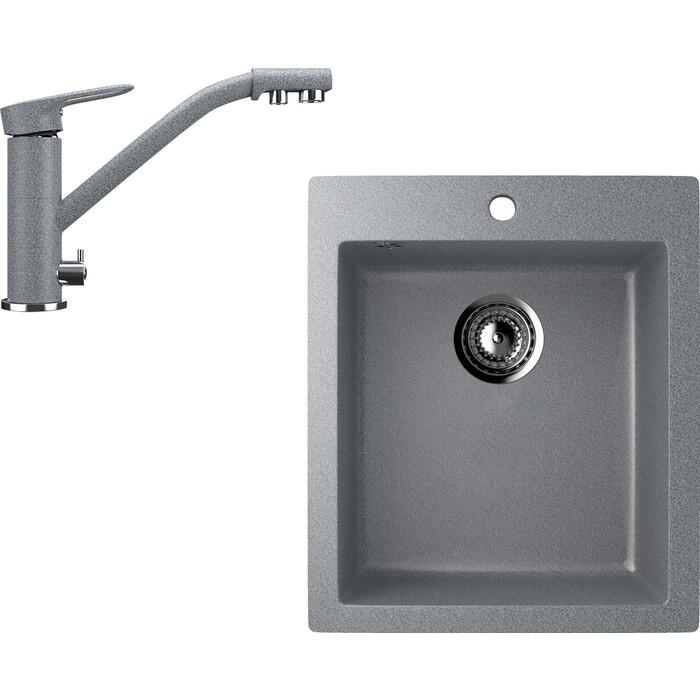 Кухонная мойка и смеситель Ulgran U-404 темно-серый (U-404-309, U-010-309)