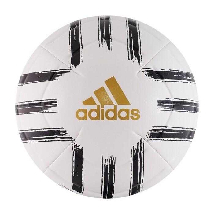 Мяч футбольный Adidas Juve Club GH0064, р.4, 2 пан, ТПУ, маш.сшивка, бело-черный-золотой недорого