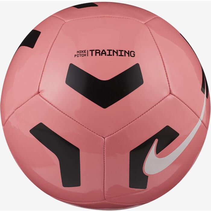 Мяч футбольный Nike Pitch Training CU8034-675, р.5, 12 п, гл.ТПУ, маш. сшивка, бут. кам, розово-черный