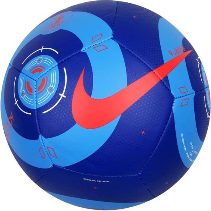 Мяч футбольный Nike Pitch CQ7151-420, р.5, 12 п, гл.ТПУ, бут. кам, маш. сшивка, сине-красный