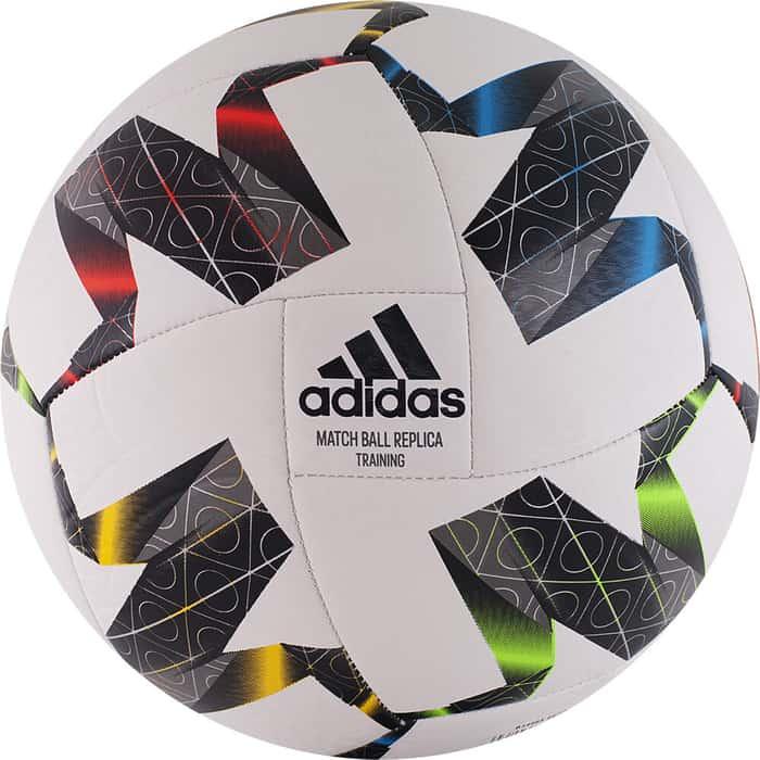 Мяч футбольный Adidas UEFA NL TRNFS0204, р.4, 18 пан., ТПУ, маш.сшивка, бело-черный-мультиколор