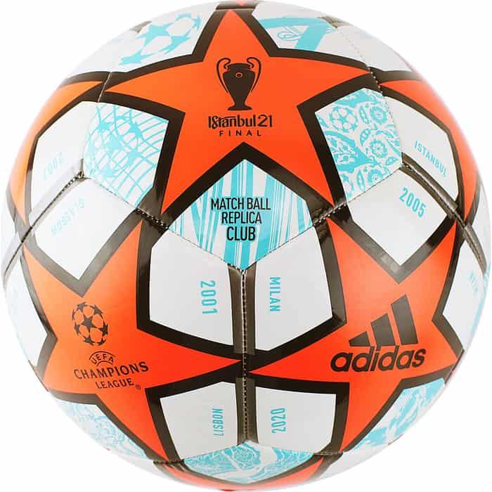 мяч футбольный adidas conext19 tcpt dn8636 белый желтый оранжевый размер 5 Мяч футбольный Adidas Finale Club GK3469, р.5