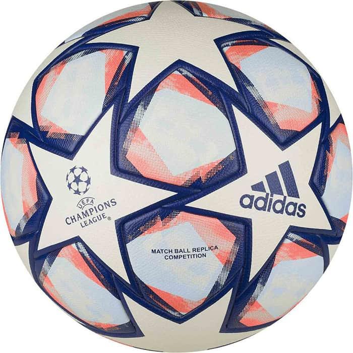 Мяч футбольный Adidas Finale 20 Competition FS0257, р.4, 32п, ПУ, термосшивка, белый-синий-оранжевый