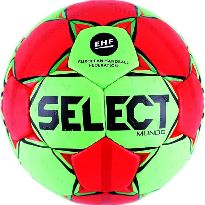 Мяч гандбольный Select Mundo 846211-443, Junior (р.2), EHF Appr., мат.ПУ,руч.сш, зел-красн-черн