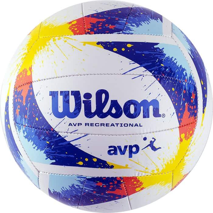 Мяч волейбольный Wilson AVP Splatter WTH30120XB, р.5, 18 пан, композит.кожа, маш.сшивка, бело-сине-желтый