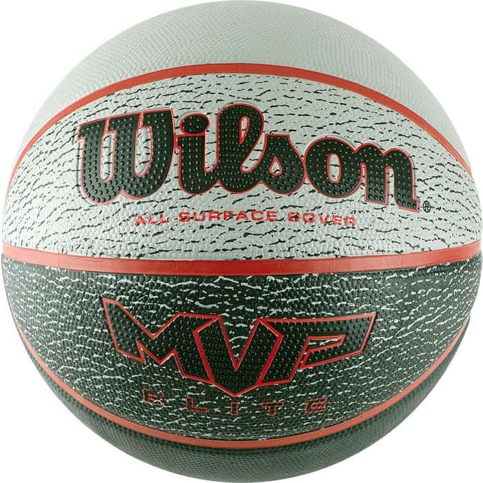 Мяч баскетбольный Wilson MVP ELITE, арт. WTB1460XB07, р.7, резина, бутил.камера, серо-красно-черный