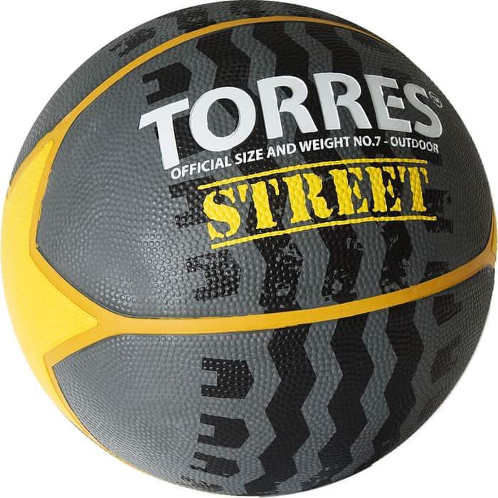 Мяч баскетбольный Torres Street B02417, р.7, 7 панел.резина, нейлон.корд, бут. кам., серо-желто-белый