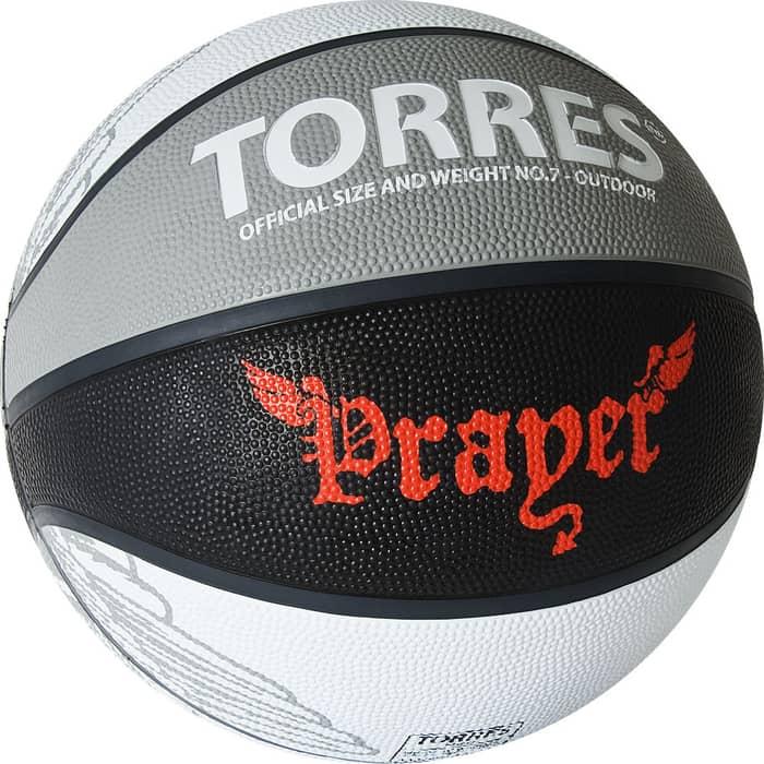 Мяч баскетбольный Torres Prayer B02057, р.7, резина, нейлон.корд, бут. кам., серо-черный-красный