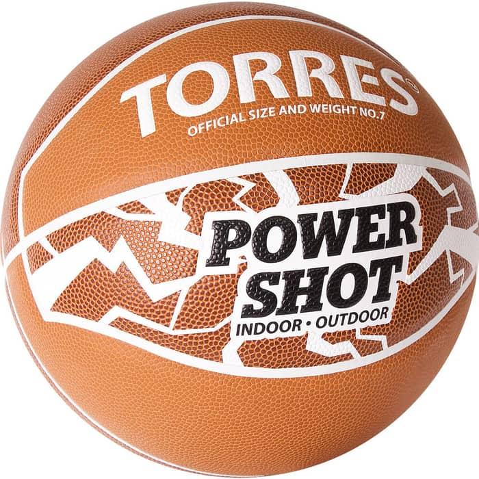 Мяч баскетбольный Torres Power Shot B32087, р.7, 8 пан., ПУ, нейлон.корд, бут.кам, оранжево-белый