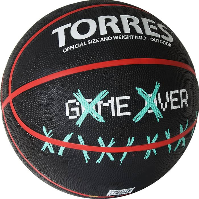 Мяч баскетбольный Torres Game Over B02217, р.7, резина, нейлон. корд, бут. кам., черный