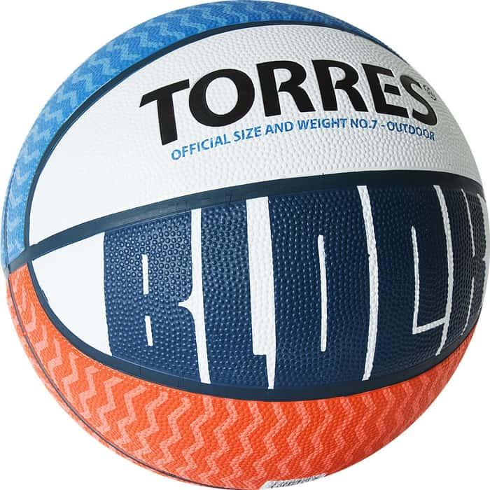 Мяч баскетбольный Torres Block B02077, р.7, резина, нейлон. корд, бут. камера, бело-сине-красный