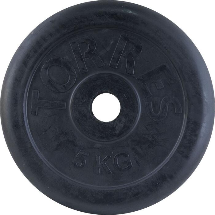 Диск обрезиненный Torres 5 кг PL50645, d.31 мм, металл в резиновой оболочке, черный